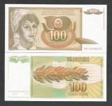 IUGOSLAVIA 100 DINARI DINARA 1990 UNC [1] P- 105 a , necirculata