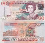 Insulele Caraibe Eastern Caribbean 20 Dollars 2008 UNC