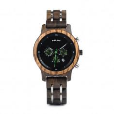 Ceas din lemn Bobo Bird crono cu curea din lemn, P18 Wooden Lux