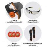 Cumpara ieftin Kit motocoasa (casca multifunctionala, ochelari, 3 role de fir, set protectie picioare)