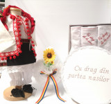 Cumpara ieftin Set Botez Traditional Delia 4 piese costumas , lumanare, trusou si cufar