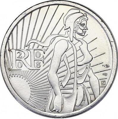Moneda jubiliara FRANTA - 5 EURO 2008 - 10g Ag – Semanatoarea - aUNC foto