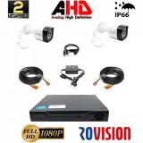 Sistem supraveghere video 2 camere exterior 2 MP 1080P full hd IR20m DVR 4 canale, accesorii full, live internet SafetyGuard Surveillance