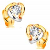 Cercei din aur 14K - diamant sclipitor și transparent înconjurat de arce bicolore