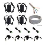 Cumpara ieftin Kit complet accesorii montaj 4 camere supraveghere de la 1MP la 4MP, Surse + Cablu + Mufe/Conectori