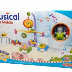 Carusel muzical cu zorzoane si lumini (baterii), cel mai frumos cadou pentru bebelusi 6518