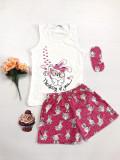 Cumpara ieftin Pijama dama ieftina bumbac scurta cu pantaloni scurti roz si maieu alb cu imprimeu Thinking of you