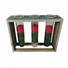 Eprubete decorative trandafiri din sapun suport din lemn aspect vintage