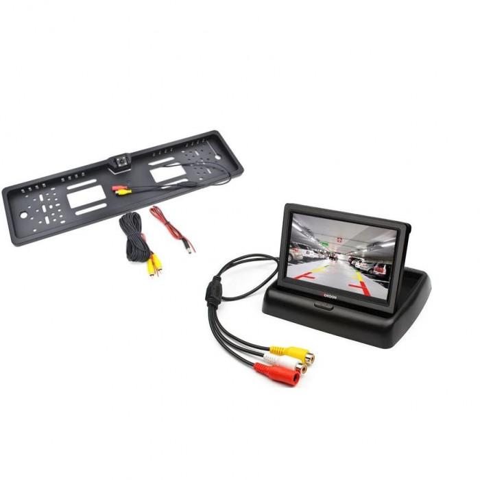 Kit 2 în 1 suport numar cu camera marsarier si monitor LCD 4.3 Inch