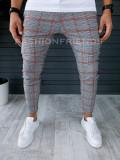 Pantaloni barbati in carouri cu rosu smart casual ZR P18038