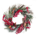 Cumpara ieftin Coronita decorativa de Craciun, 45 cm, model conuri si macese
