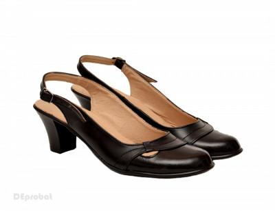 Pantofi dama piele naturala negri cu bareta lucrati manual cod P155 foto