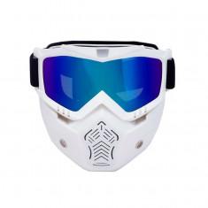 Masca protectie fata, plastic dur + ochelari ski, lentila multicolora, MDA03
