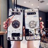Husa oglinda cu inel si pietricele pt. Samsung Galaxy S10 , S10+ , S10 Plus, Alt model telefon Samsung, Argintiu, Mov, Silicon