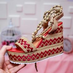 Sandale Kelia rosii cu maro-rl