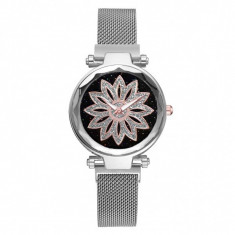 Ceas dama GENEVA CS1026, model Starry Sky, bratara magnetica, elegant, argintiu