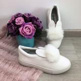 Espadrile albe balerini cu puf si urechi iepuras pt copii fete 35
