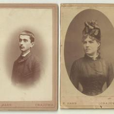 Lot 2 fotografii pe carton Karl Hahn Craiova - secolul XIX