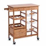 Cumpara ieftin Carucior pentru bucatarie cu 5 spatii de depozitare, 3 sertare, din bambus, Bamboo Natural, l66xA36xH84 cm