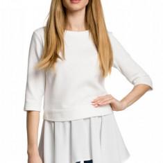 Bluza trendy, alba cu drapaj fluid in fata, 2XL, L, M, S, XL, Alb