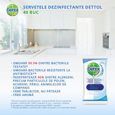 Servetele dezinfectante Dettol 40 buc foto