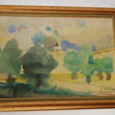 Tablou pictura Corneliu Vasilescu n.1934 - Piesaj anii '60, Peisaje, Acuarela, Abstract