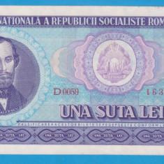 (14) BANCNOTA ROMANIA - 100 LEI 1966, PORTRET NICOLAE BALCESCU.STARE FOARTE BUNA