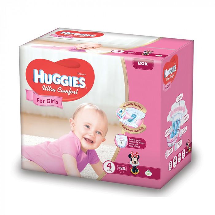 Scutece Huggies Ultra Confort Box, Numarul 4, pentru fete, 126 bucati, 8-14 Kg EVO