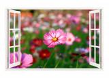 Cumpara ieftin Sticker decorativ, Fereastra 3D, Flori, 85 cm, 333STK