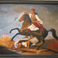 Tablou / Pictura calaret Grec semnat Cimpoesu., Scene lupta, Ulei, Realism