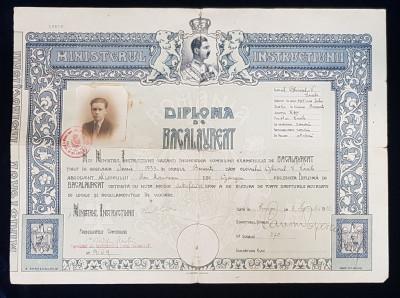 DIPLOMA DE BACALAUREAT, BUCURESTI, 1933 foto