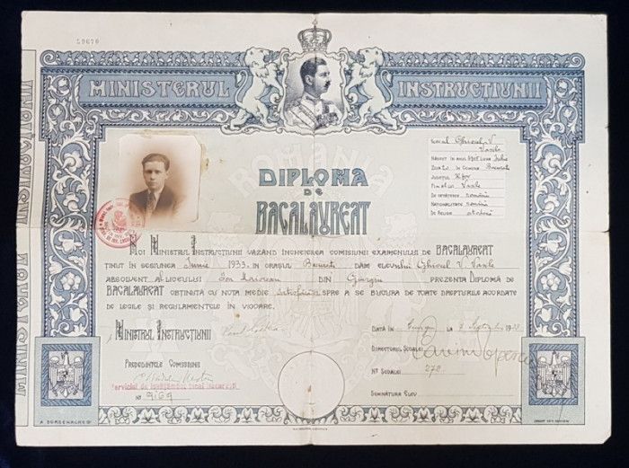 DIPLOMA DE BACALAUREAT, BUCURESTI, 1933