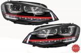 Faruri 3D LED Volan Dreapta compatibile cu VW Golf 7 (2012-2017) R20 GTI Design Semnal Dinamic LED