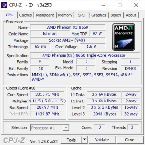 Procesor AMD Phenom 8650 Triple-Core 2.3GHz Skt AM2+