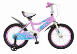 Bicicleta copii 16 FIVE Huntail cadru otel culoare roz bleo roti ajutatoare varsta 4 6 ani