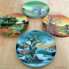 Farfurii - decorative / de colectie - Kaiser - Anotimpuri - Arta naiva Iugoslava