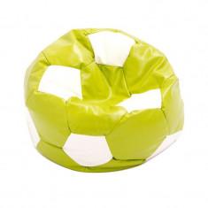 Fotoliu tip puf, imitatie piele, 74 cm, model minge de fotbal, Verde/Alb, Oem