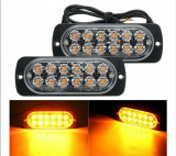 Set Lampi Agabaritice Stroboscop 12 LED-uri Auto Utilaje Avertizare Stroboscoape Platforma Remorci