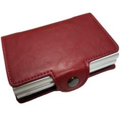 Portofel unisex, port card dublu iUni P3, RFID, 2 Compartimente 6 carduri, Rosu Grena