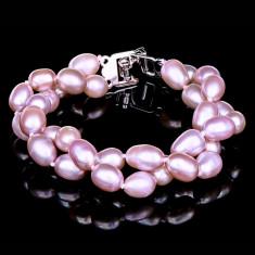 Bratara cu Perle Naturale si Argint 925, Madonna Purple
