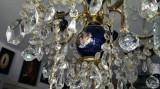 Policandru din cristal, portelan si bronz