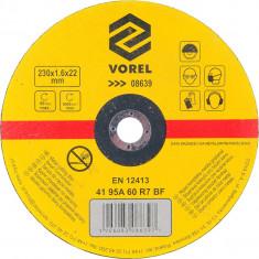 Disc abraziv pentru debitat metale 230x1.6x22 mm VOREL