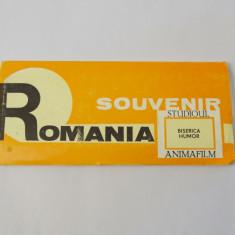Pliant cu diapozitive Romania Suvenir Biserica Humor 1969