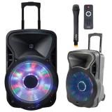 Cumpara ieftin Boxa portabila 12 inch, iluminata, microfon wireless VHF, USB, SD, BT, FM, 300 W