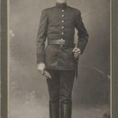 Fotografie militar roman cu baioneta anii 1910 foto Nowak Bucuresti CDV