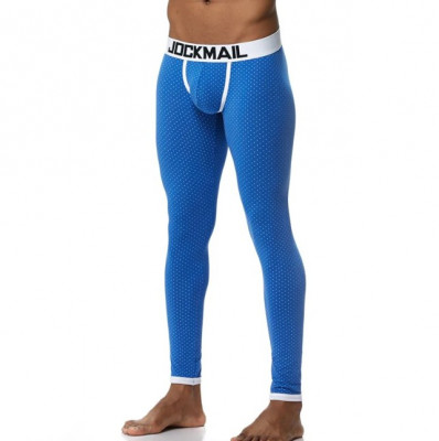 Pantaloni de Casa de Pijama Sexy Barbati Bumbac Black Jockstrap Lungi Albastru foto