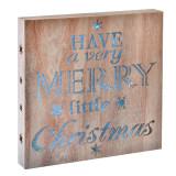 Cumpara ieftin Decoratiune lemn Merry Little Christmas, 15 x LED, 30 x 30 cm
