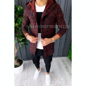 Cardigan barbati grena - hanorac barbati - hanorac slim fit - cod A2893