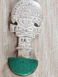 Medalion tribal INCAS argint 925 - MALACHIT- gravat ambele parti