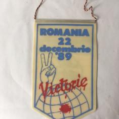 Fanion Revolutie ROMANIA 22 decembrie '89, Victorie, 22x13cm, colectie